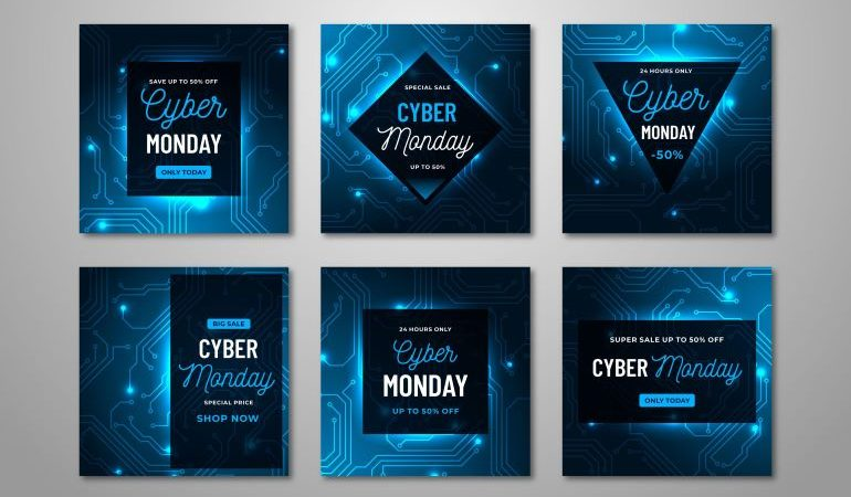 Different Cyber Monday marketing campaign banner designs