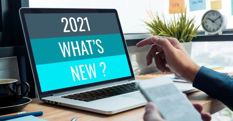 Laptop screen with '2021 - what's new' shown on it.