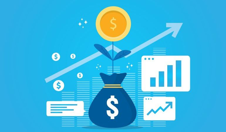 Vector image of bag with money, surrounded by analytics and growth charts.