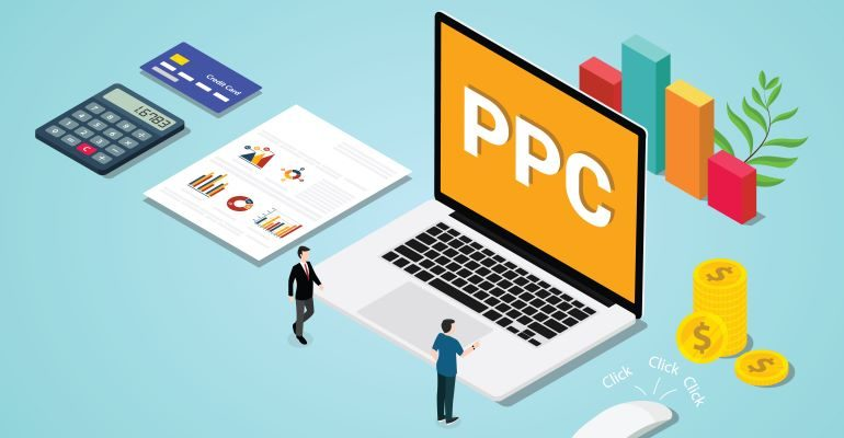 Vector image of people working on PPC campaigns.
