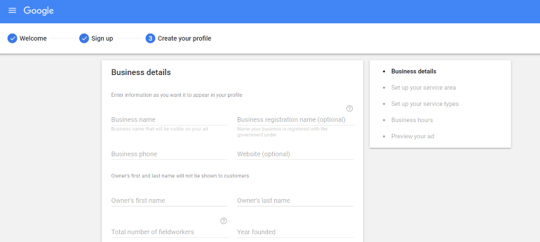 Signup form for Google Guarantee