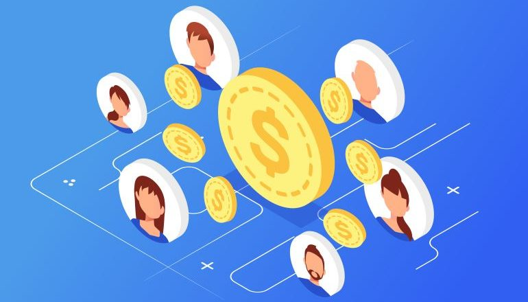 Vector image of people connected with coins.