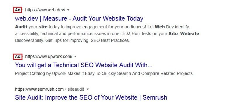 Google search results related to SEO, displaying ads and organic results.