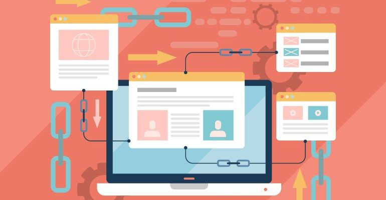 Vector image of link building