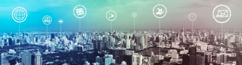 Vector image of linking network above a city skyline.