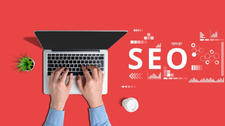 Vector image of SEO with red background.