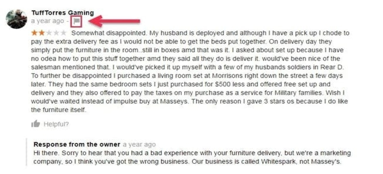 A vague, fake product review about furniture left for a marketing company.