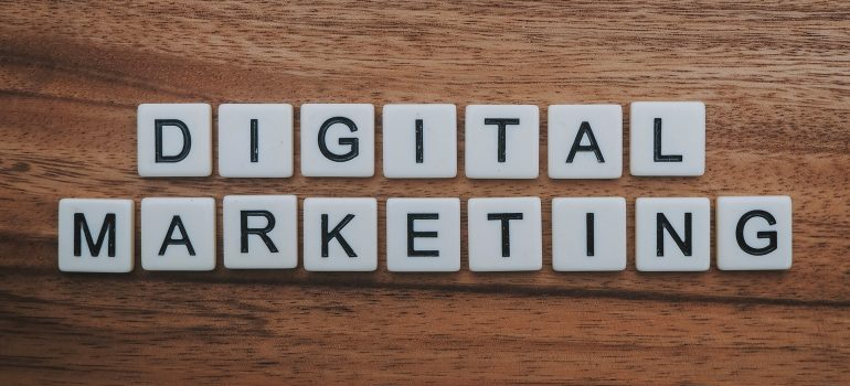 letters that spell the words digital marketing