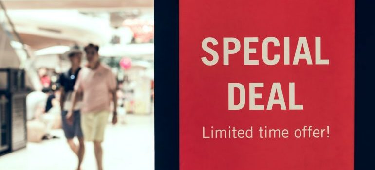 a sign that says special deal limited time offer