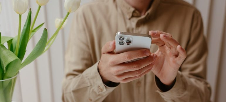 Person using a mobile phone.