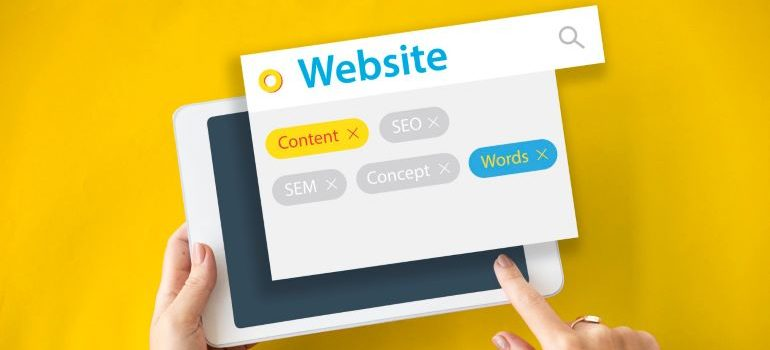 Vector image of tablet with website optimization elements.